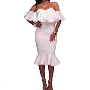 Strapless white mermaid midi dress